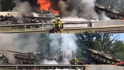В Польше сгорели два возвращавшихся с учений танка