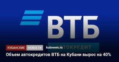 Объем автокредитов ВТБ на Кубани вырос на 40%